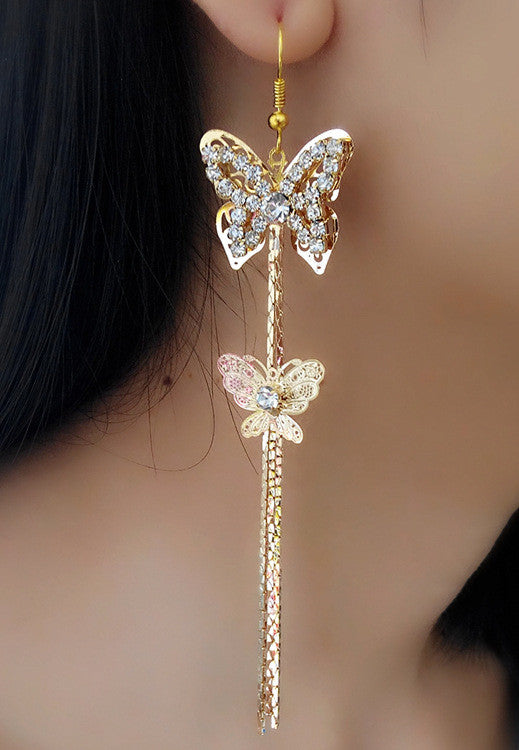 Exaggerated Crystal Tassels Party Earrings - Oh Yours Fashion - 16