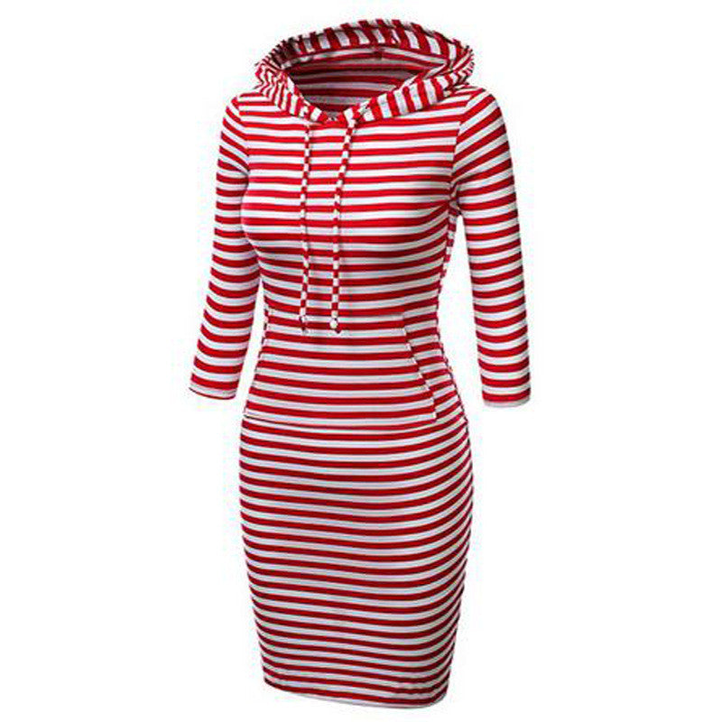 Hooded Mid-Calf Striped Slim Fashion Sweat Dress - Oh Yours Fashion - 5