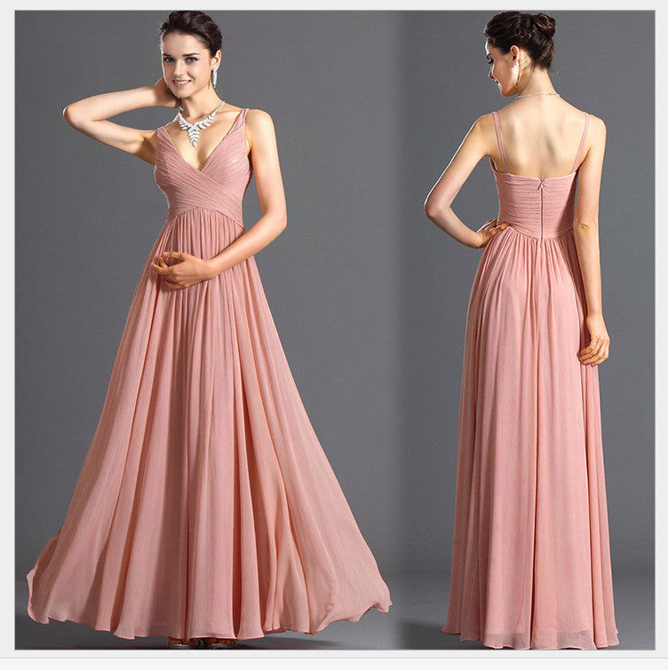 V-neck Backless Solid Spaghetti Strap Chiffon Long Bridesmaid Dress - Oh Yours Fashion - 1