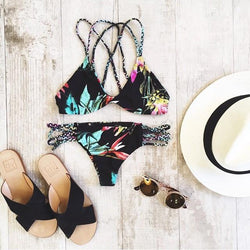 Sexy Hollow Out Lace Up Print Padded Two Pieces Swimwear