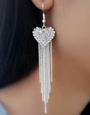 Exaggerated Crystal Tassels Party Earrings - Oh Yours Fashion - 37