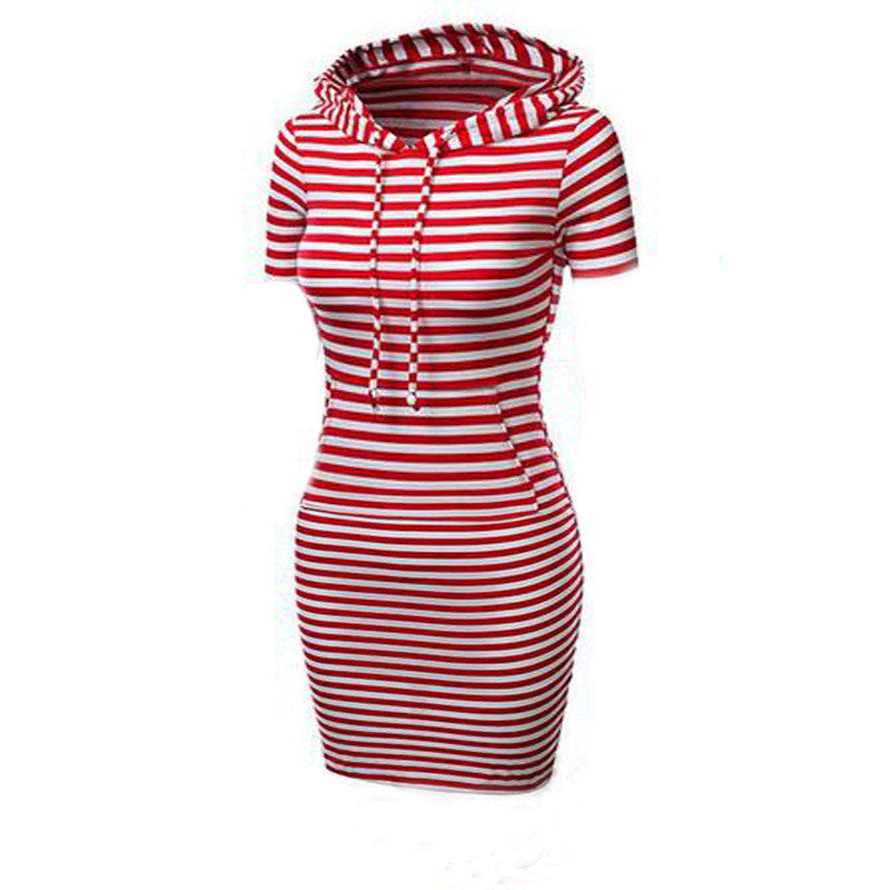 Hooded Mid-Calf Striped Slim Fashion Sweat Dress - Oh Yours Fashion - 6