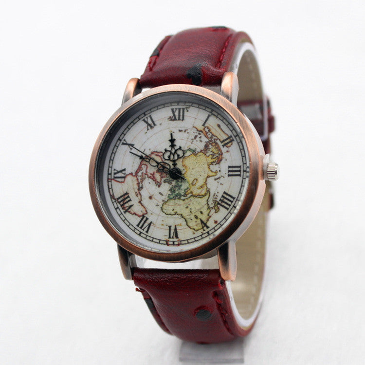 Hot Style Fake Ostrich Strap Map Watch - Oh Yours Fashion - 1
