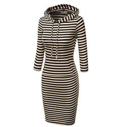 Hooded Mid-Calf Striped Slim Fashion Sweat Dress - Oh Yours Fashion - 1
