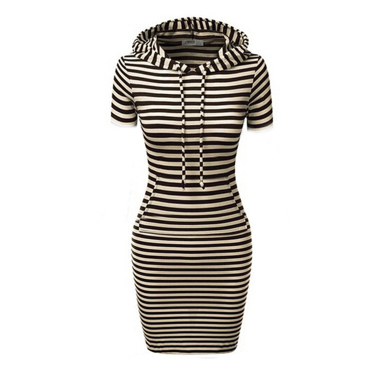 Hooded Mid-Calf Striped Slim Fashion Sweat Dress - Oh Yours Fashion - 4