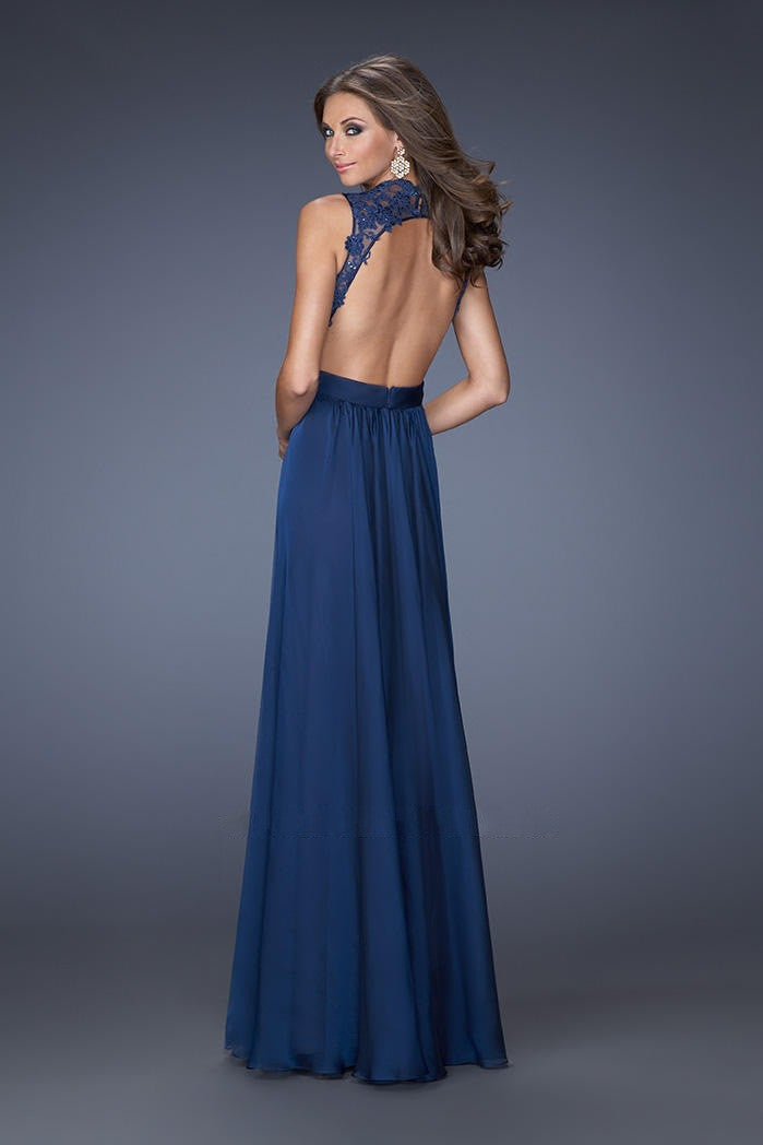 Lace Pure Color Sleeveless Backless V-neck Long Dress - Oh Yours Fashion - 4
