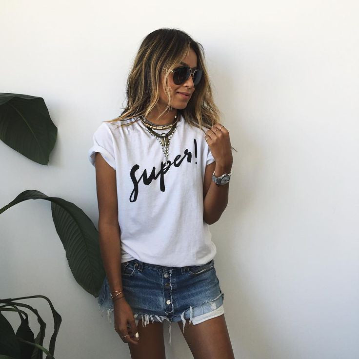 Letter Short Sleeves Scoop Casual Brief T-shirt - Oh Yours Fashion - 2