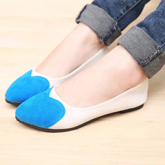 Sweet Heart Patchwork Low Cut Flat Shoes - Oh Yours Fashion - 10