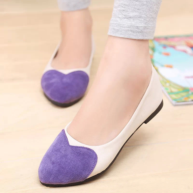 Sweet Heart Patchwork Low Cut Flat Shoes - Oh Yours Fashion - 1