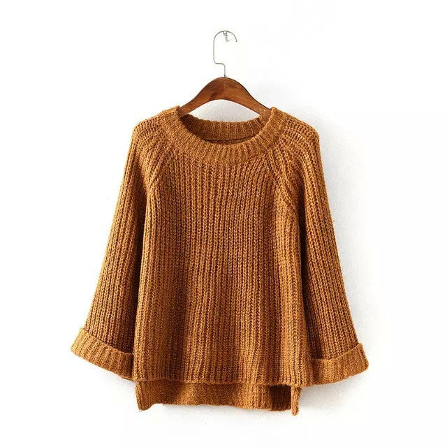 Knitting Bell Sleeve Thick Sweater - Oh Yours Fashion - 5