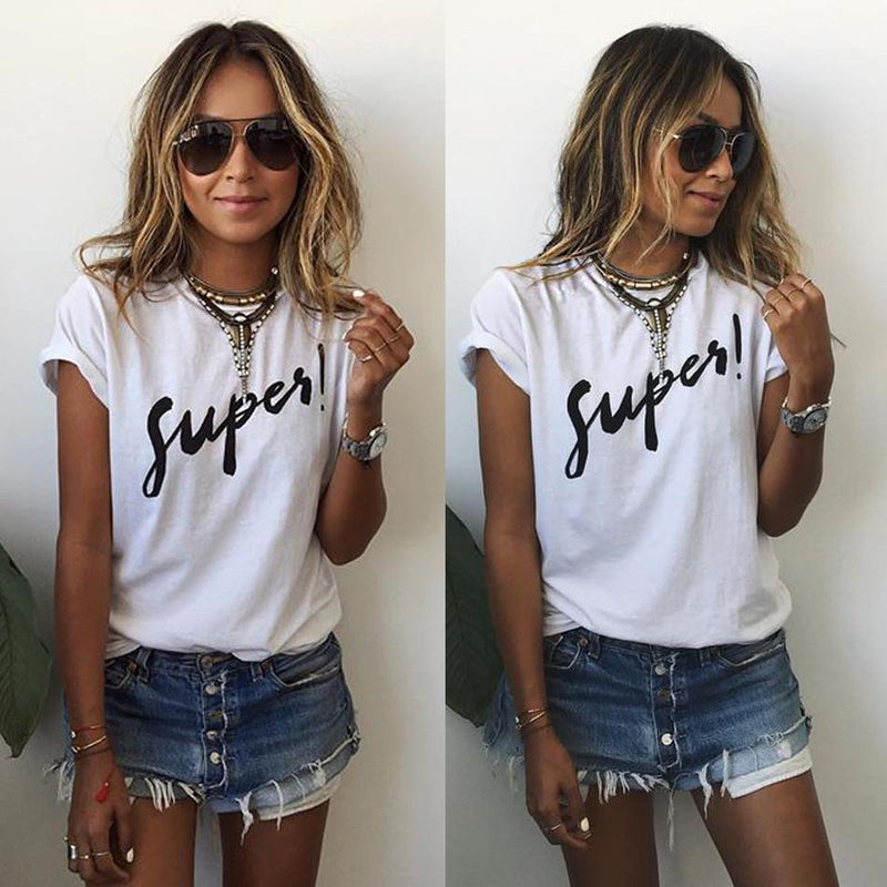 Short Sleeves Letter Print Scoop Casual T-shirt - Meet Yours Fashion - 1
