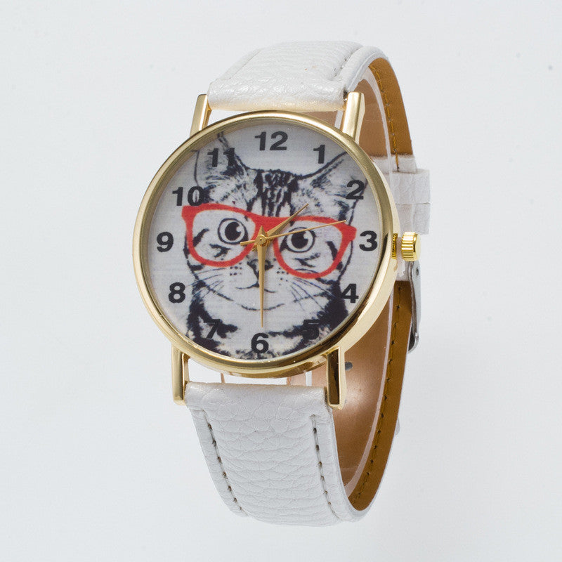 Glasses Cat Face Dial PU Watch - Oh Yours Fashion - 1