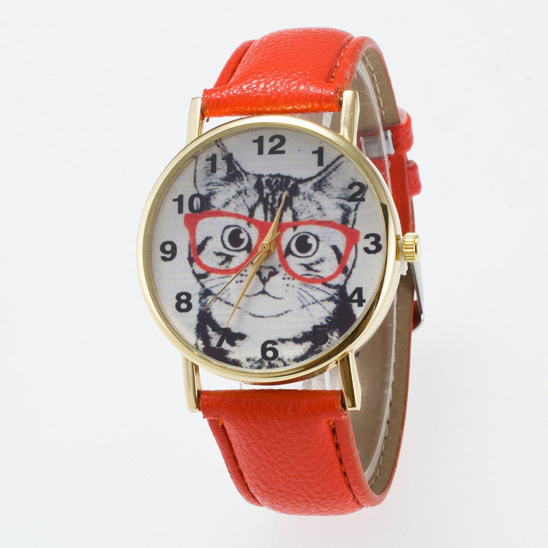 Glasses Cat Face Dial PU Watch - Oh Yours Fashion - 8