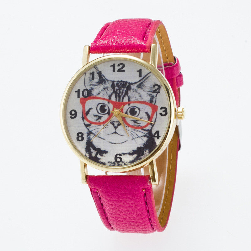 Glasses Cat Face Dial PU Watch - Oh Yours Fashion - 11