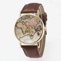 Vintage Map Dial Leather Fashion Watch - Oh Yours Fashion - 11
