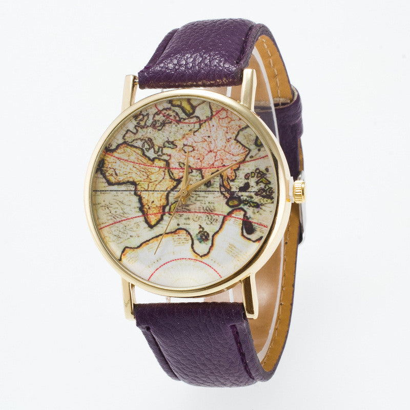 Vintage Map Dial Leather Fashion Watch - Oh Yours Fashion - 3