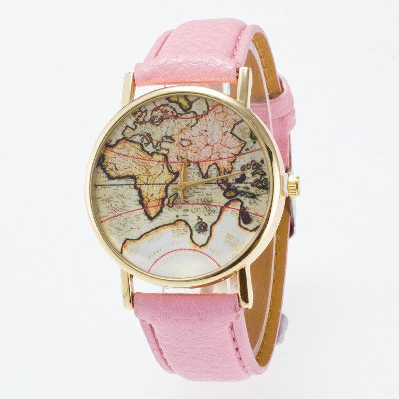 Vintage Map Dial Leather Fashion Watch - Oh Yours Fashion - 12