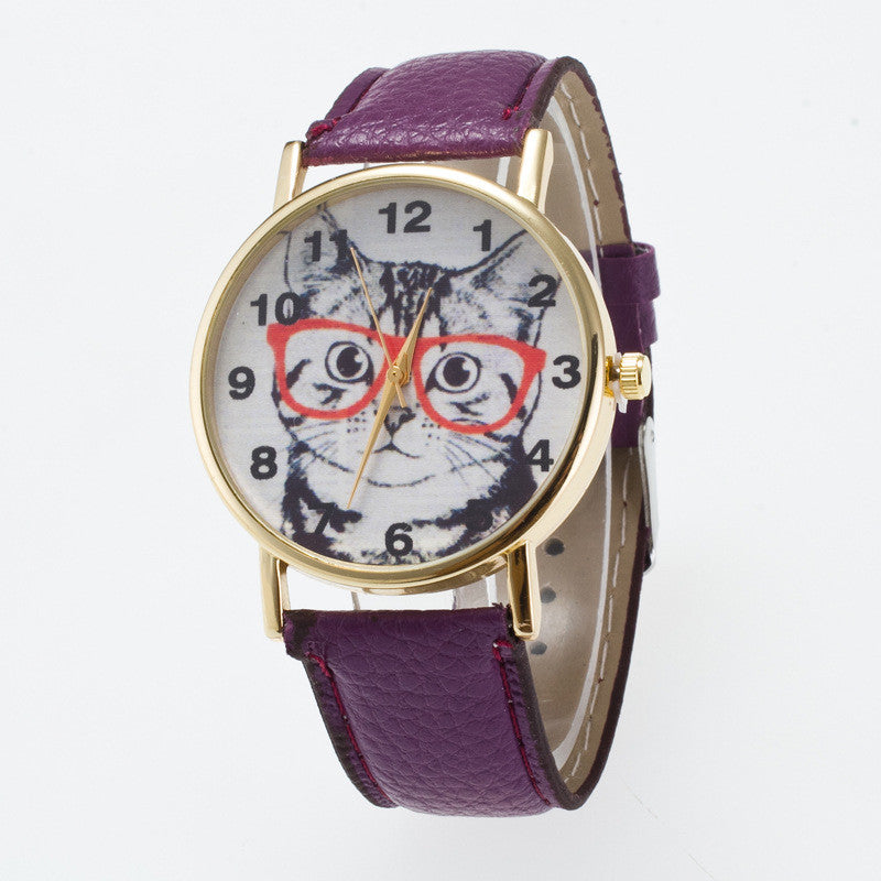 Glasses Cat Face Dial PU Watch - Oh Yours Fashion - 4