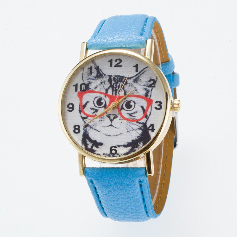 Glasses Cat Face Dial PU Watch - Oh Yours Fashion - 9