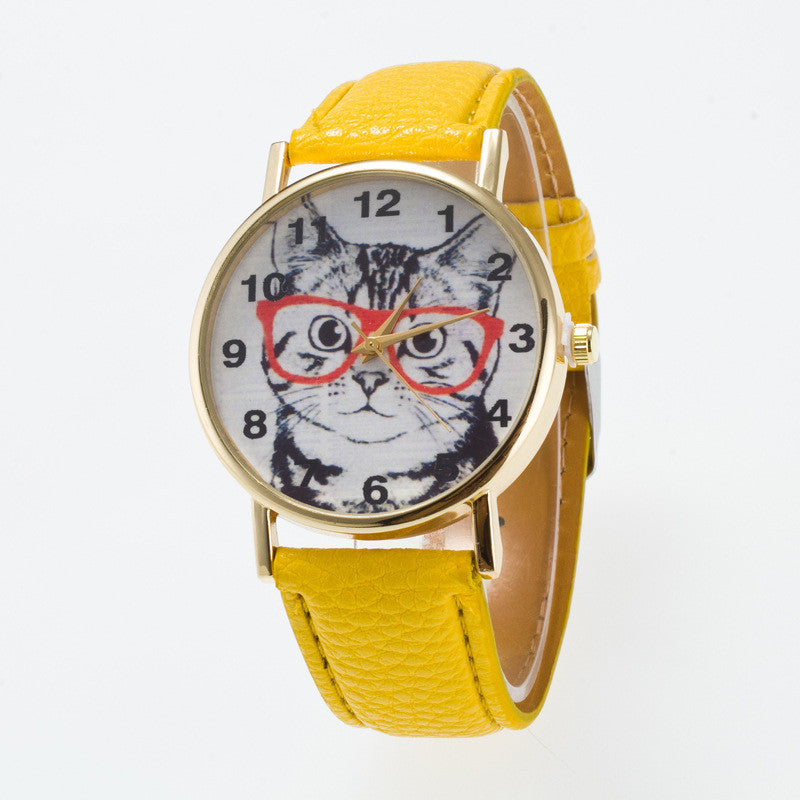 Glasses Cat Face Dial PU Watch - Oh Yours Fashion - 2