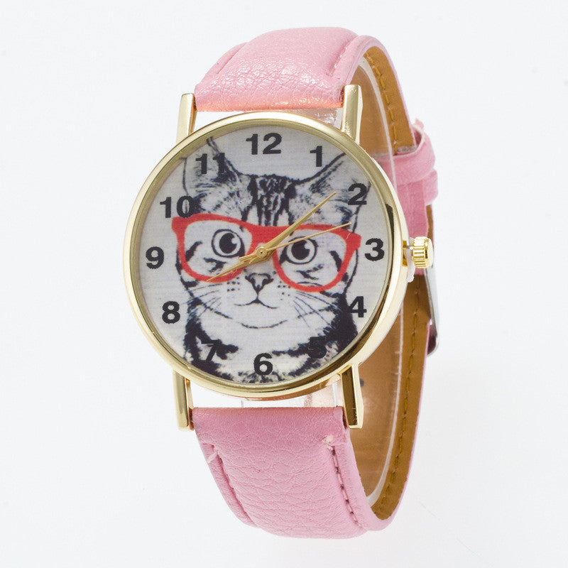 Glasses Cat Face Dial PU Watch - Oh Yours Fashion - 13
