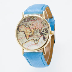 Vintage Map Dial Leather Fashion Watch - Oh Yours Fashion - 8