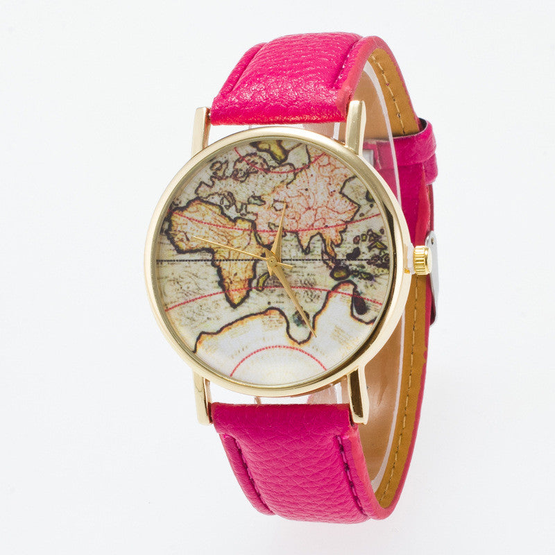 Vintage Map Dial Leather Fashion Watch - Oh Yours Fashion - 10