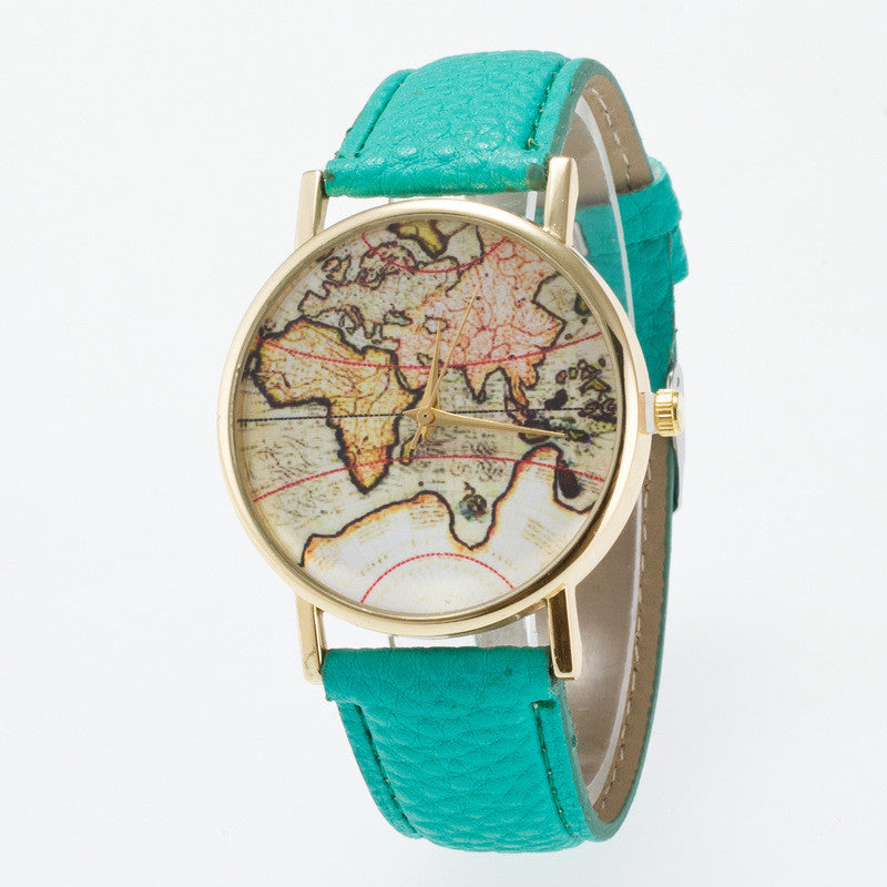 Vintage Map Dial Leather Fashion Watch - Oh Yours Fashion - 9