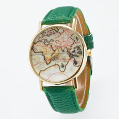 Vintage Map Dial Leather Fashion Watch - Oh Yours Fashion - 4