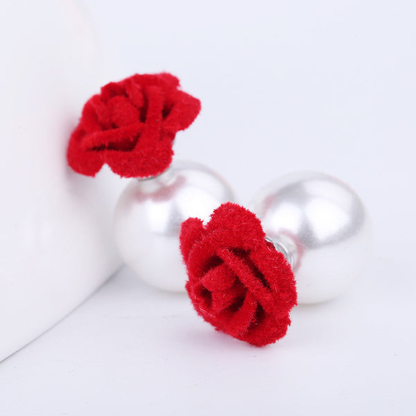 Velvet Frosted Roses Pearl Earrings - Oh Yours Fashion - 2
