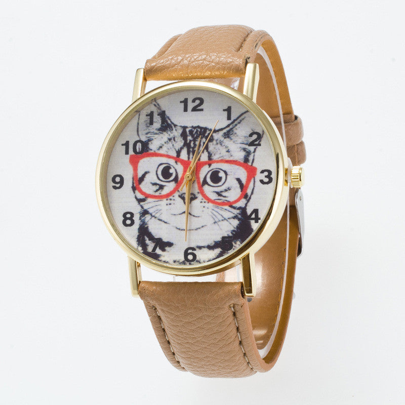 Glasses Cat Face Dial PU Watch - Oh Yours Fashion - 14