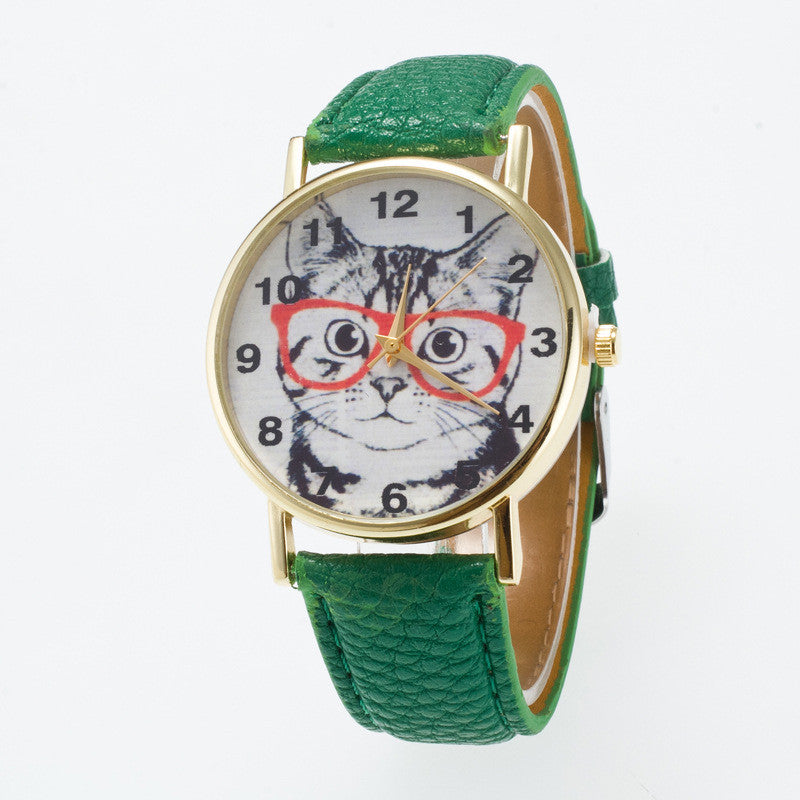 Glasses Cat Face Dial PU Watch - Oh Yours Fashion - 5