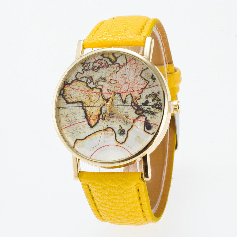 Vintage Map Dial Leather Fashion Watch - Oh Yours Fashion - 1