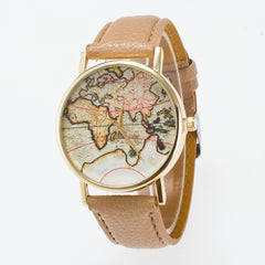 Vintage Map Dial Leather Fashion Watch - Oh Yours Fashion - 13