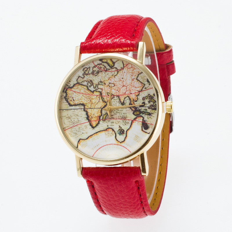 Vintage Map Dial Leather Fashion Watch - Oh Yours Fashion - 2
