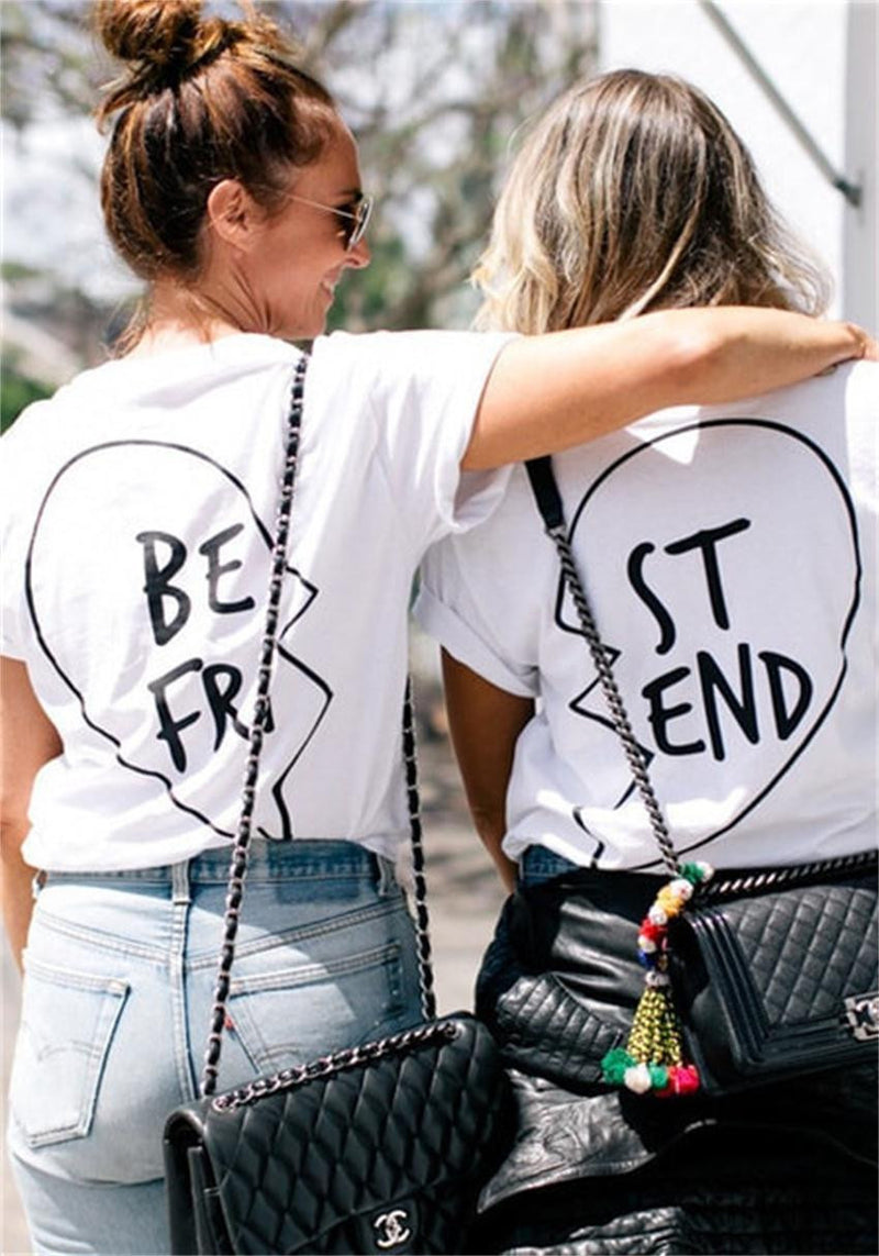 Best Friend Big Letter Print Scoop Top Tee - Oh Yours Fashion - 2