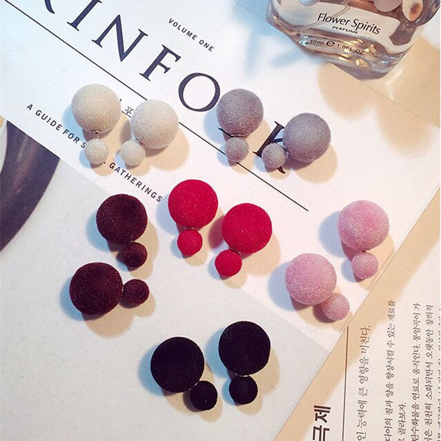 Korea Style Velvet Ball Fashion Earring - Oh Yours Fashion - 1