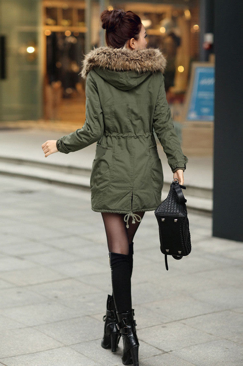 Faux Fur Collar Long Winter Hooded Coat - Oh Yours Fashion - 5