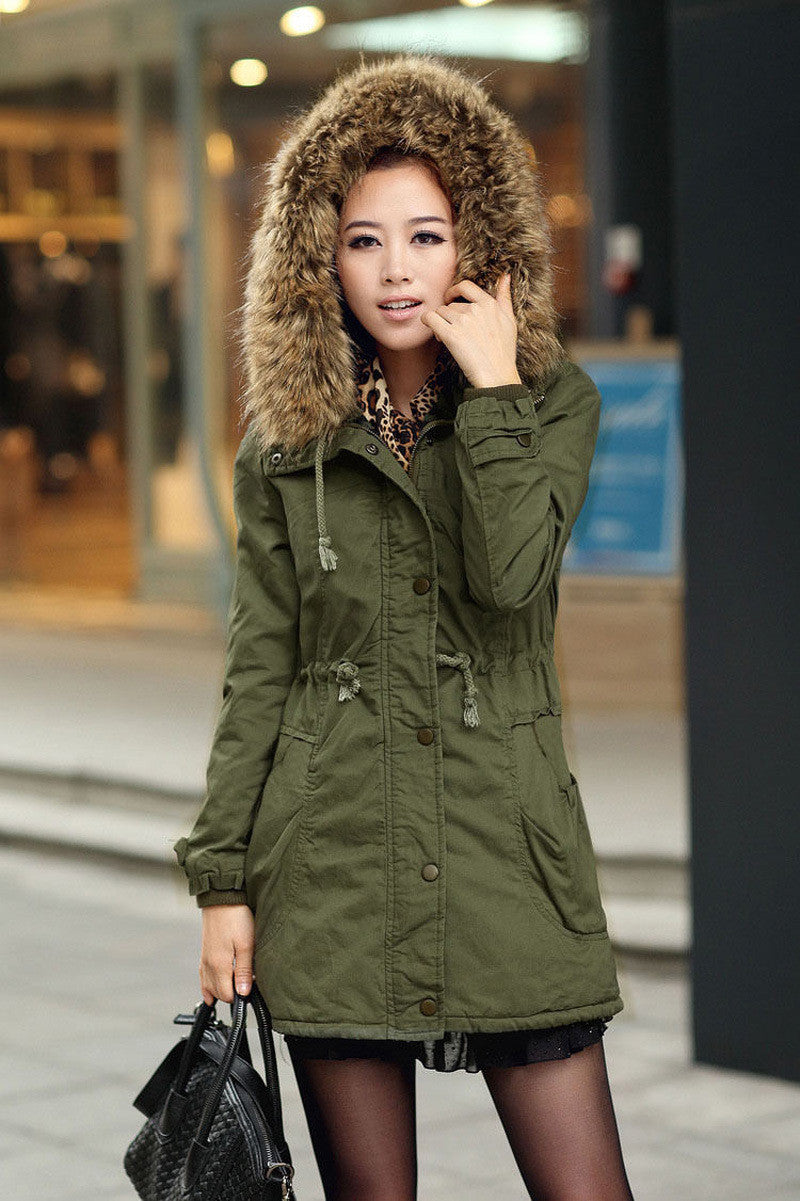 Faux Fur Collar Long Winter Hooded Coat - Oh Yours Fashion - 8