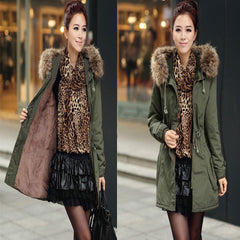 Faux Fur Collar Long Winter Hooded Coat - Oh Yours Fashion - 6