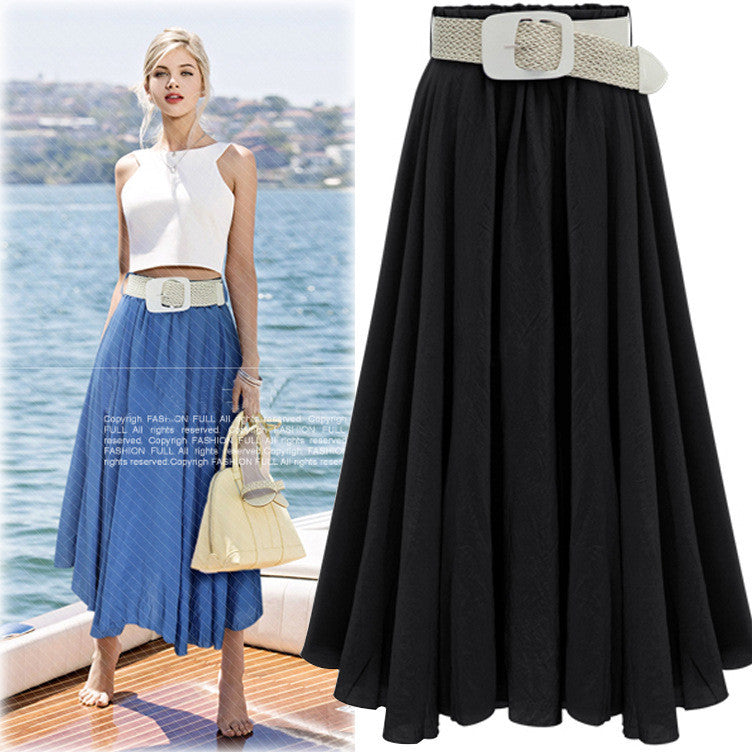 Pleated Solid Slim Belt Cotton Long Skirt - Oh Yours Fashion - 5