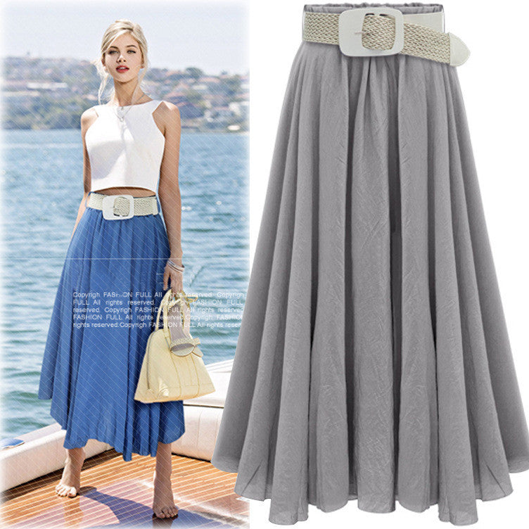 Pleated Solid Slim Belt Cotton Long Skirt - Oh Yours Fashion - 3
