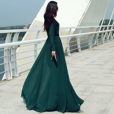Long Sleeves Chiffon Button Decorate Pleat Long Maxi Dress - O Yours Fashion - 2