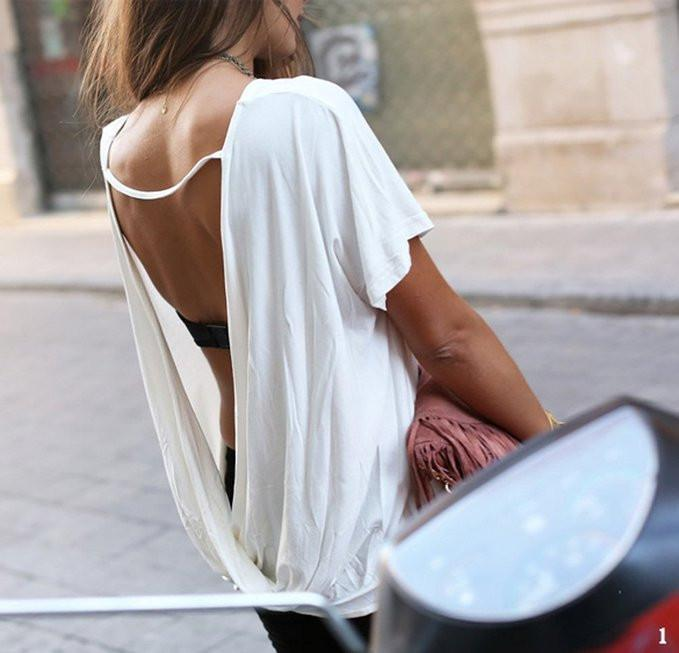 Backless Scoop Short Sleeves Back Cross Casual T-shirt - Meet Yours Fashion - 5