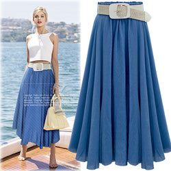Pleated Solid Slim Belt Cotton Long Skirt - Oh Yours Fashion - 1