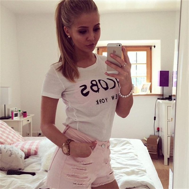 Letter Print Scoop Short Sleeves Slim Short T-shirt - Meet Yours Fashion - 4