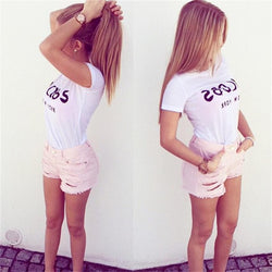 Letter Print Scoop Short Sleeves Slim Short T-shirt - Meet Yours Fashion - 2