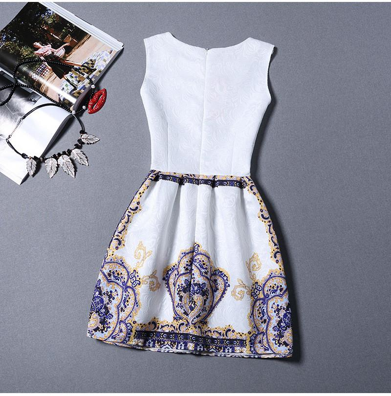 Elegant Vintage Flower Print Sleeveless Mini Tank Dress - MeetYoursFashion - 9