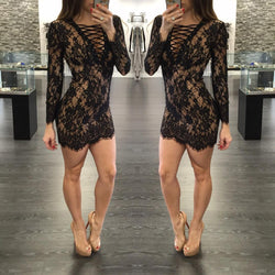Fashion Sexy Bandage Lace Short Bodycon Dress - Oh Yours Fashion - 3