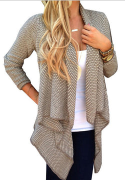 Cardigan Knit Asymmetric Lapel Loose Sweater - Oh Yours Fashion - 2
